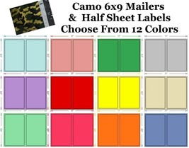 6x9 ( Camo ) Poly Mailers + Colored Half Sheet Self Adhesive Shipping La... - $2.99+