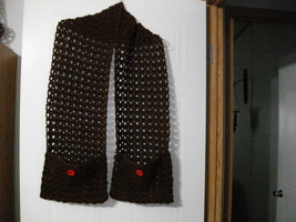 handmade crochet pocket scarf with matching hat - $30.00