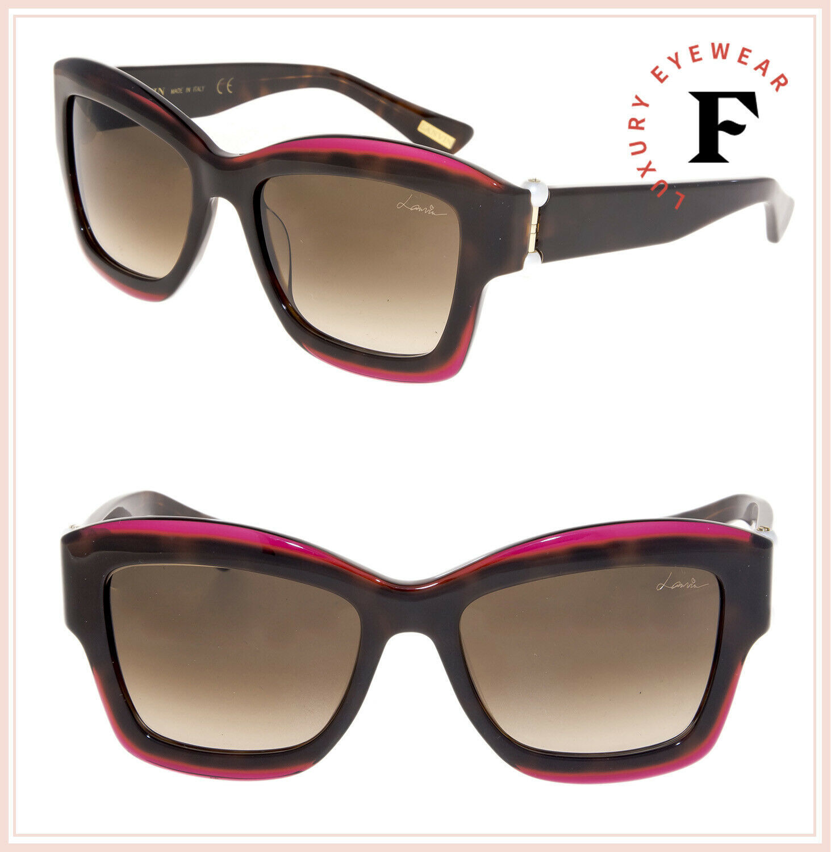 LANVIN 678 Havana Violet Pearl Brown Oversized Gradient Sunglasses SLN678S