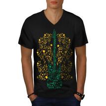 Bass Guitar Rock Music Shirt Instrumental Men V-Neck T-shirt - $12.99+