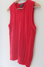 NWT LAUREN Ralph Lauren Red Linen Cotton Knit Sleeveless Sweater Vest M $100 image 2