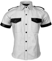 Men's Real Genuine Leather Police Style Bluff White Shirt - $78.00+