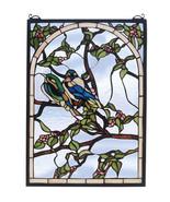 """Meyda Tiffany 14""""W X 20""""H Blue Lovebirds Stained Glass Window - $479.00"""