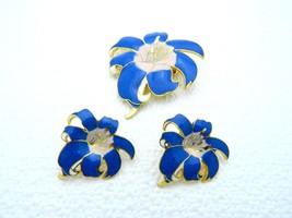VTG Gold Tone Blue & Pink Hibiscus Flower Brooch & Earring Set - $14.85