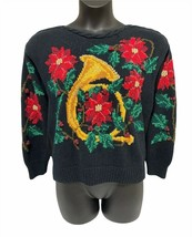 Vintage Knitted by Hand Ugly Christmas Sweater | French Horn Poinsettia ... - $25.00