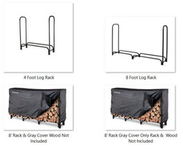4' or 8' Firewood Log Rack, Heavy Duty Metal Construction, Easy Assembly... - $55.73+