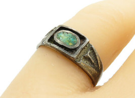 925 Sterling Silver - Vintage Antique Turquoise Etched Band Ring Sz 6 - ... - $24.92