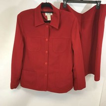 Bob Mackie Studio Womens 2pc Skirt Suit Red Long Sleeve Button Front Plu... - $27.31