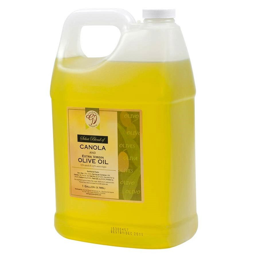 Primary image for 75% Canola, 25% Extra Virgin Olive Oil Blend - 6 plastic jugs - 1 Gallon ea