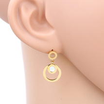 UE- Gold Tone Designer Circular Drop Earrings With Faux Mother of Pearl ... - $17.99