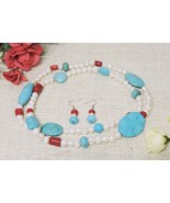 Blue Turquoise Red Coral Fresh Water White Pearl Natural Custom Long Nec... - $77.17