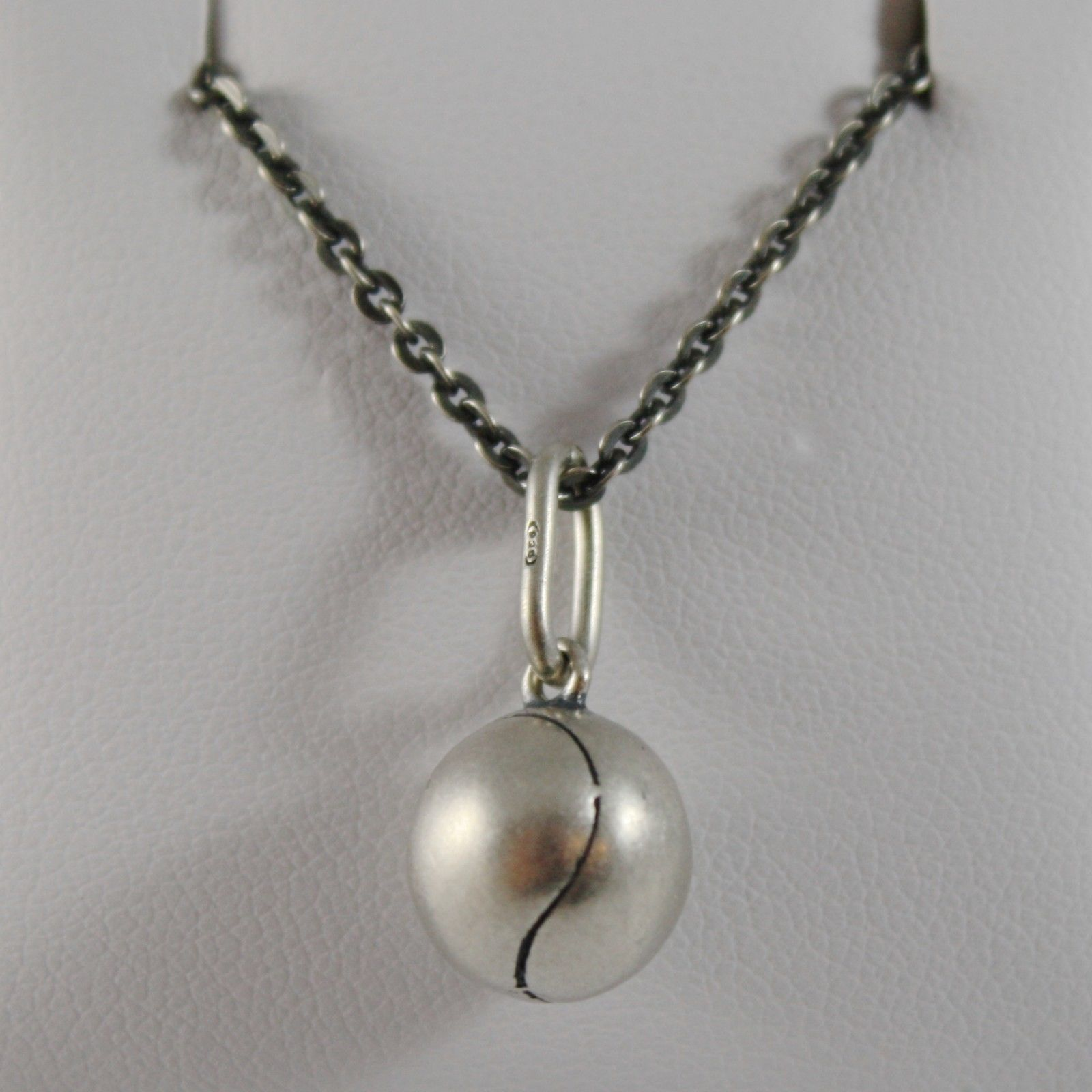 925 STERLING SILVER NECKLACE BURNISHED PENDANT A GOLF BALL TENNIS MADE IN ITALY