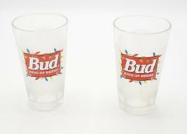 Budweiser Seasons Greetings Glasses Bud King Of Beers Beer Pint Set of 2... - $22.95