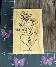 Stampin' Up Hearts Flower Swirl Flourish Petals Plant Rubber Stamp #R147 - $3.71