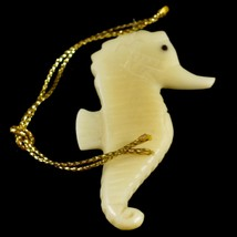 Hand Carved Tagua Nut Carving Hanging Seahorse Ornament Made in Ecuador image 2