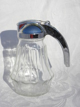 Vintage Hazel Atlas Federal Tool Corp. Glass Syrup Pitcher with Chrome Lid - $12.99