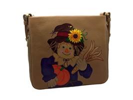 Fossil Preston Crossbody Beige, Genuine Leather, Hand Painted Scarecrow ... - $199.99