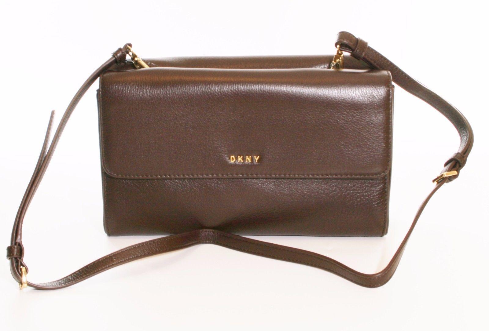 DKNY Donna Karan Dark Brown Leather Double Flap Shoulder Bag Clutch RRP £215 - $199.00