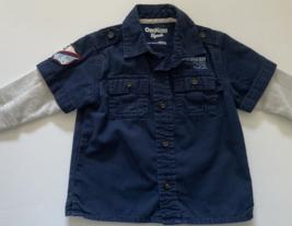 OshKosh Baby Boys Clothes, SZ 12 MO, Navy Blue Camper Style Shirt  - $7.00