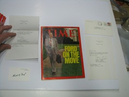 US President Gerald Ford Jerry Autograph Signed Time Magazine & Card w/ ... - $186.36