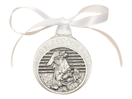 Crib Medal - Pewter Baby in Manger with White Ribbon