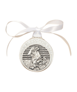 Crib Medal - Pewter Baby in Manger with White Ribbon - $39.99
