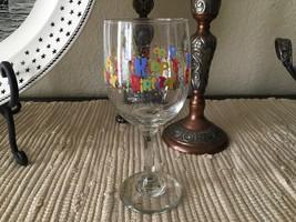 VTG 1980s Happy Birthday Confetti White Wine Glass - $16.00