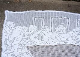 Lg Vtg Hand Crochet Last Supper Jesus Wall Hanging Tablecloth Passover E... - $24.95