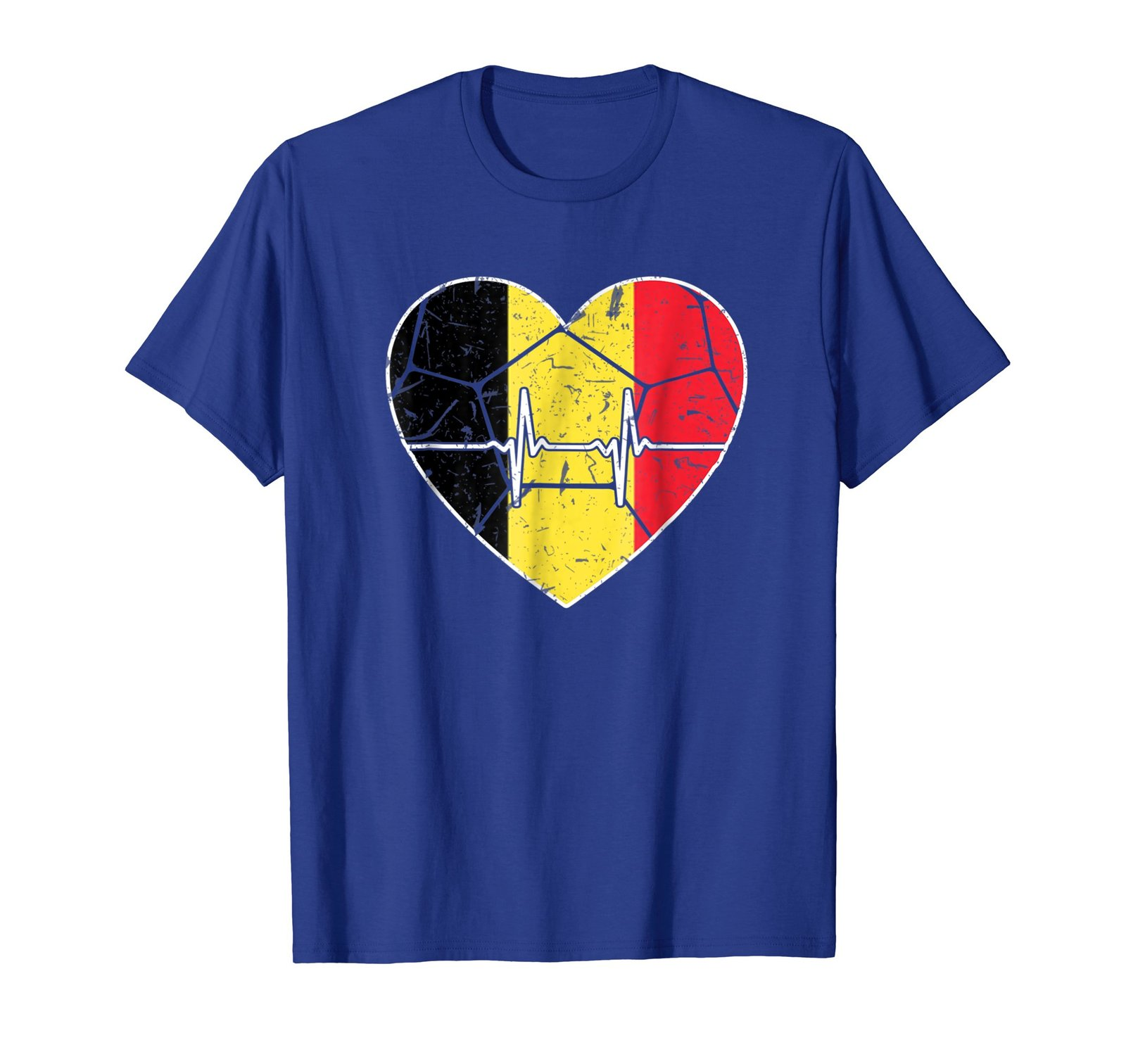 Soccer Heart Belgian Flag Heartbeat Football Team Tshirt