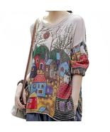 Laies Vintage Printed Sweaters Womens Casual Loose Knitted Pullovers Fem... - $64.95