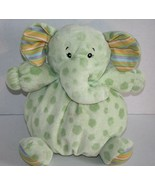 "Kellytoy Baby ELEPHANT Rattle 10"" Green Polka Dots Plush Soft Toy Stuffe... - $24.16"