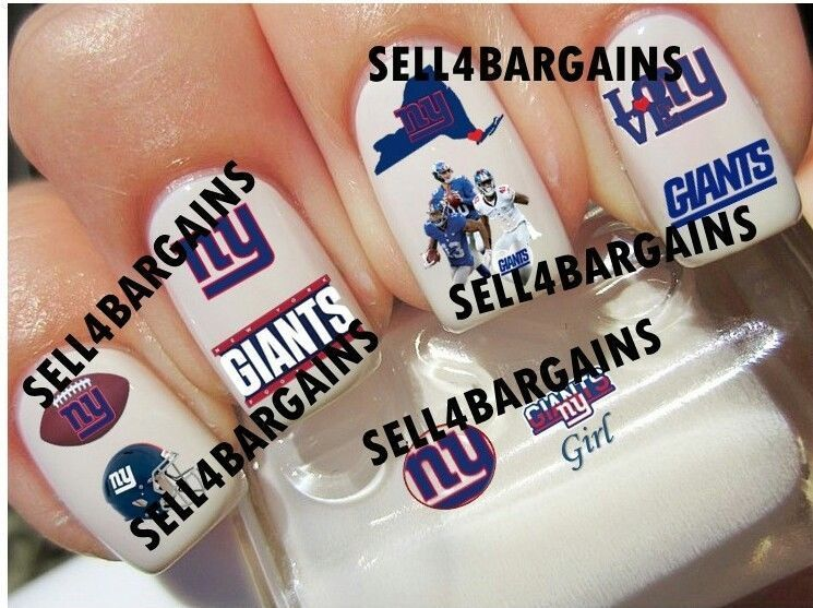 NFL NEW YORK GIANTS FOOTBALL LOGOS》10 Different Designs》Tattoo Nail Art Decals