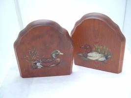 Wooden Book Ends w Hand Painted Mallard & Pintail Ducks mid century Vintage - $34.97