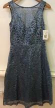 Women's Bridesmaid Dress Davids Bridal Metallic Steel Blue Lace Sleevele... - $89.95