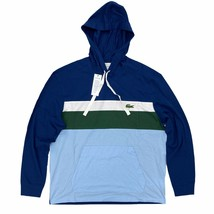 Lacoste Men's Hooded T-Shirt Blue Stripe Big Croc Long Sleeve Lightweight Hoodie - $54.99