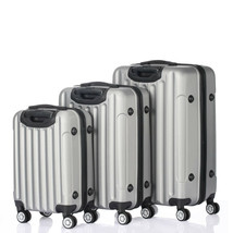 "20"" 24"" 28"" Suitcase Set Luggage Travel Plastic Metal 3 Piece Silver & Gray - $106.29"