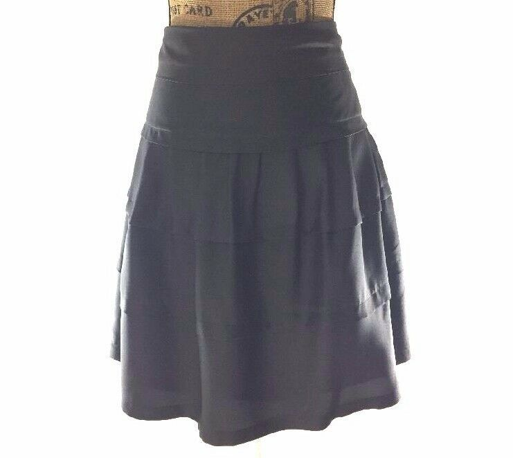 10 Large Skirt Gray 100% Silk VICTOR ALFARO Fit Flare Tier Layer Trendy Work LN