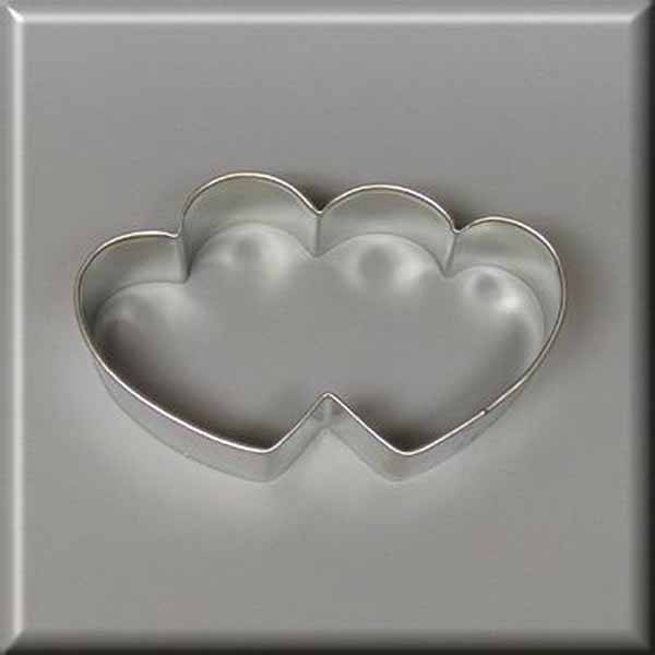 "3.5"" Double Heart Metal Cookie Cutter #N4005"