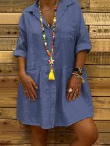 Casual Women Pure Color Loose 3/4 Sleeve Mini Dress - $31.99