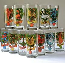 COMPLETE Vtg Set-12 Indiana Glass Twelve Days of Christmas 12oz Tumblers - $89.04