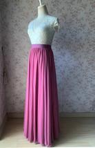2021 Floor Length Chiffon Skirt High Waist Wedding Skirt Outfit Plum Plus Size  image 4
