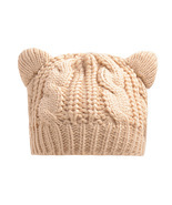 Fashion Hats Knitted Warm Ski Crochet Slouch Hat Cat Ear Wool Cap - ₨989.55 INR