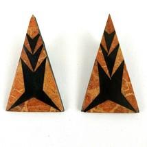 Vintage Wood Look Bold Geometric Design Triangle Dangle Clip Earrings - $16.77