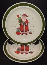 2 Christmas Holiday Santa Claus Present Tree Dinner Plates Green Rim Sto... - $32.66