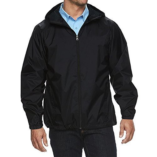 Maximos USA Men's Water Resistant Hooded Zip Up Windbreaker Jacket (Medium, Blac