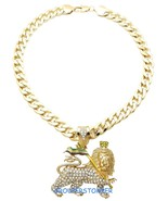 Lion Of Judah Necklace New Iced Out Pendant With 25 Inch Long Cuban Chain  - $34.95
