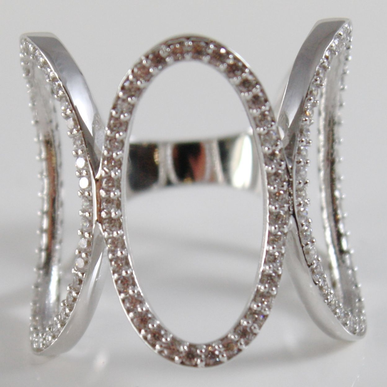 18K WHITE GOLD BAND RING, ALTERNATE BIG OVALS, OVAL WITH ZIRCONIA, MADE IN ITALY