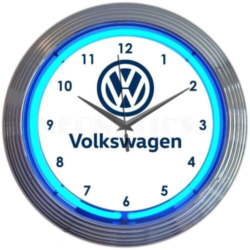 "Primary image for Volkswagen Car Garage Neon Clock 15""x15"""