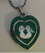 Larry Chavez LMC Sterling Silver Heart Pendant of Lovers Southwestern Je... - $59.98