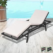 vidaXL Patio Outdoor Rattan & Wicker Sun Lounger Day Bed w/ Cushion Brow... - $153.99